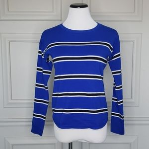 Cobalt/black/white dolman sweater